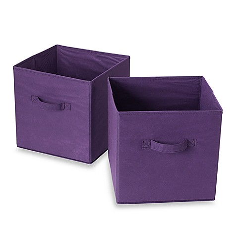 Purple bins for cube grid set of 2 bed bath beyond for Purple bathroom bin