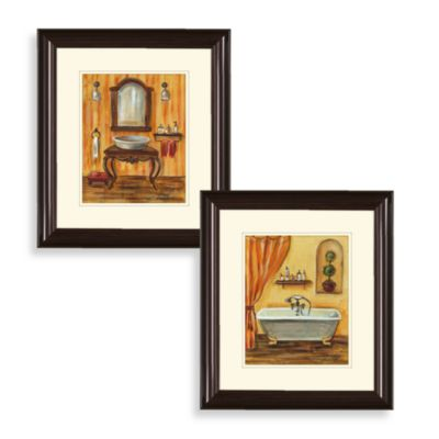 Art Orange Washroom Wall Art (Set of 2)