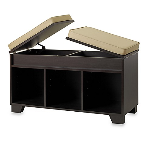 Real simple 3 cube split top bench storage unit in espresso Bench with shelf