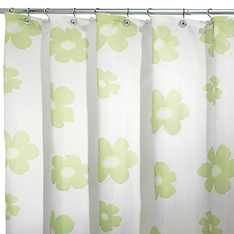InterDesign® Green Poppy 108-Inch x 72-Inch Fabric Shower Curtain