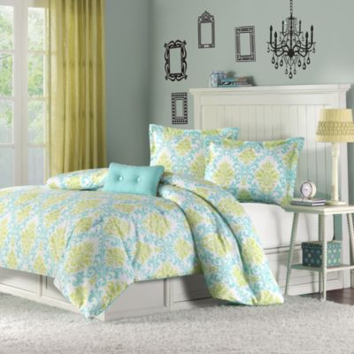 Mizone Katelyn Full/Queen Comforter Set in Teal