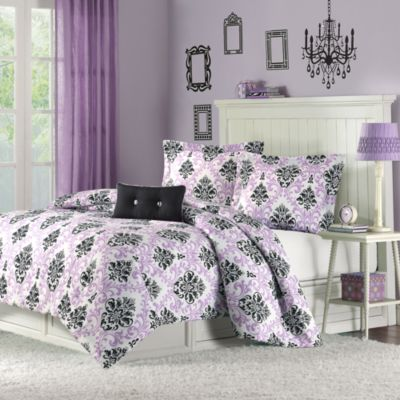 Mizone Katelyn Twin/Twin XL Comforter Set in Purple