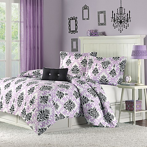 Buy mizone katelyn twin twin xl comforter set in purple for Black damask bedroom ideas