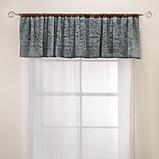 Lamont Home Jessica Chenille Window Valance - Slate/Chocolate