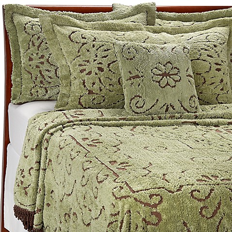 Lamont Home Jessica Chenille Bedspread in Mint/ Chocolate