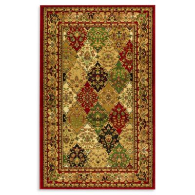 lyndhurst diamond patchwork 3 foot 3 inch x 5 foot 3 inch rug in red