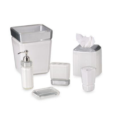 Croscill Barron White Waste Basket