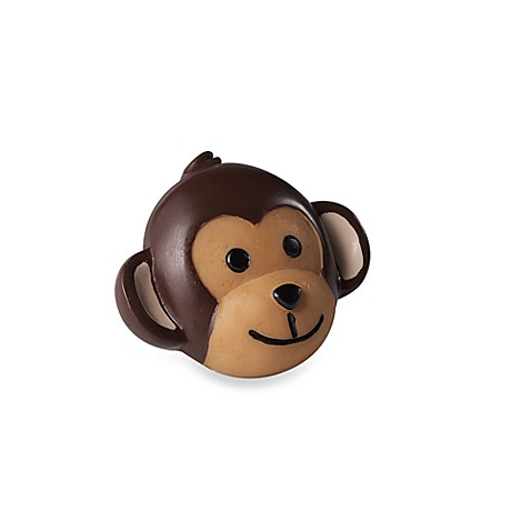 Kidz Decorative Door Knob with Ribbon in Monkey Face (Set of 4)