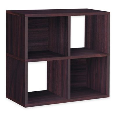 Way Basics Espresso Quad Cube and Bookcase