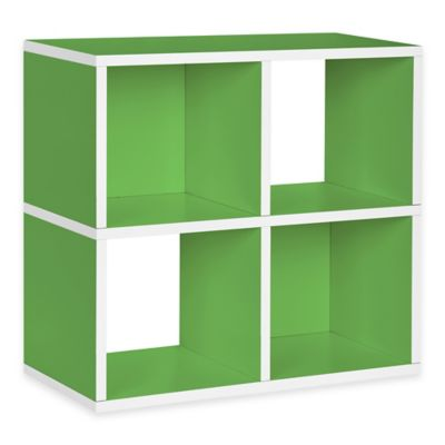 Way Basics Green Quad Cube and Bookcase