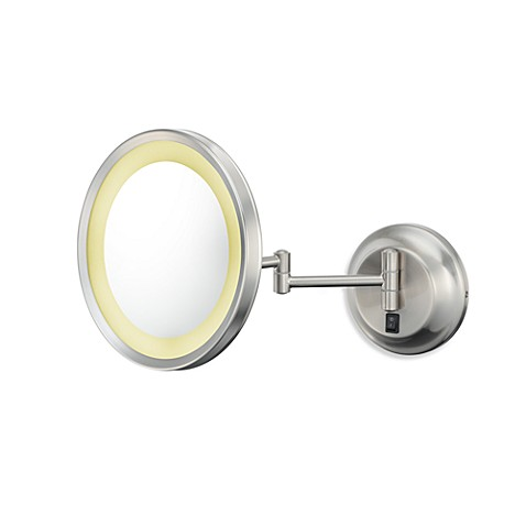 Kimball & Young Single-Sided 5X LED Wall Mirror with Brushed Nickel Finish