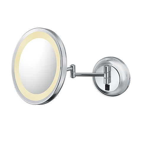Kimball & Young Single-Sided 5X LED Wall Mirror with Chrome Finish