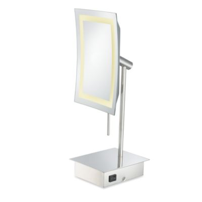 Kimball & Young Single-Sided 3X LED Rectangular Minimalist Vanity Mirror with Polished Nickel Finish