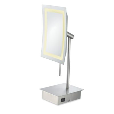 Kimball & Young Single-Sided 3X LED Rectangular Minimalist Vanity Mirror with Brushed Nickel Finish