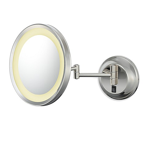 Kimball & Young Single-Sided 5X LED Wall Mirror with Polished Nickel Finish