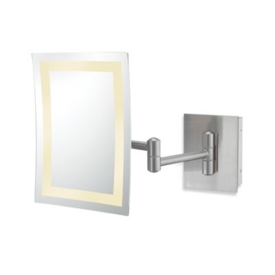 Kimball & Young Single-Sided 3X LED Rectangular Wall Mirror with Brushed Nickel Finish