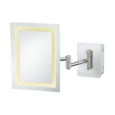 Kimball & Young Single-Sided 3X LED Rectangular Wall Mirror with Polished Nickel Finish