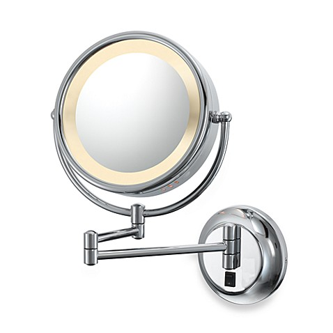 Kimball & Young Double-Sided Lighted 5X/1X Wall Mirror with Chrome Finish