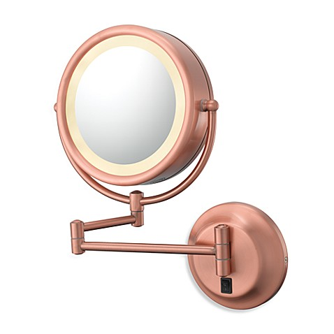 Kimball & Young Double-Sided Lighted 5X/1X Wall Mirror with Brushed Copper Finish