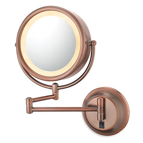 Kimball & Young Double-Sided Lighted 5X/1X Wall Mirror with Diablo Bronze Finish