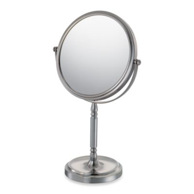 Mirror Image™ Recessed Base Vanity Mirror with 5X/1X Magnification in Brushed Nickel