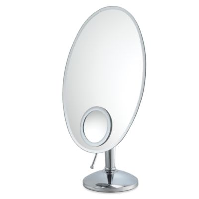 mirror image oval vanity mirror with 10x inset in chrome. Black Bedroom Furniture Sets. Home Design Ideas