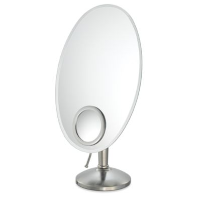 Mirror Image™ Oval Vanity Mirror with 10X InSet in Brushed Nickel