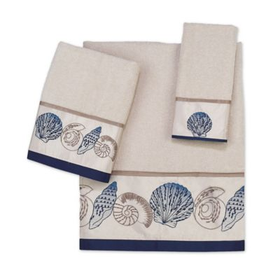 Avanti Hampton Shells Fingertip Towel in Beige
