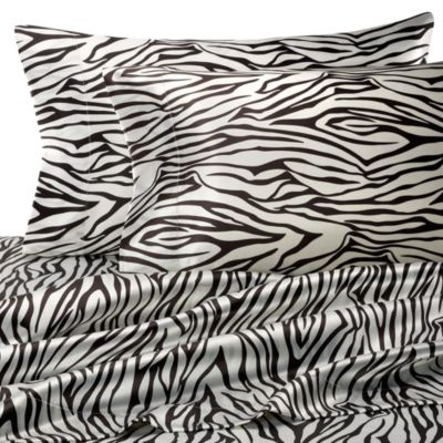 Hotel Satin Luxury Queen Sheet Set in Zebra