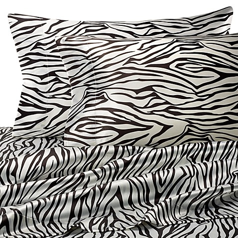 Hotel Satin Luxury Queen Sheet Set - Zebra