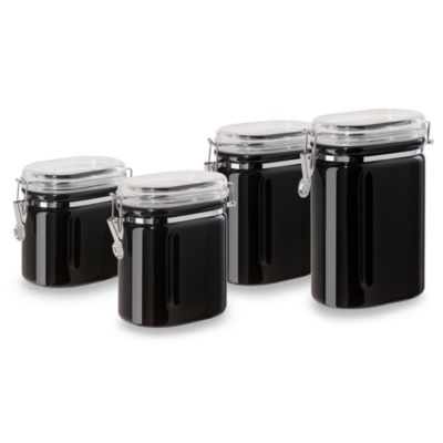 Oggi™ 4-Piece Ceramic Oval Airtight Canister Set in Black