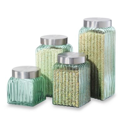Oggi™ Ribbed Glass 4-Piece Canister Set in Green
