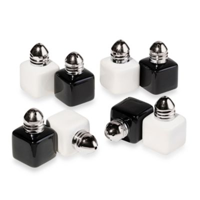 Oggi™ Black & White Ceramic 8-Piece Mini Salt & Pepper Set