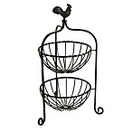 Rooster Finial 2-Tier Basket