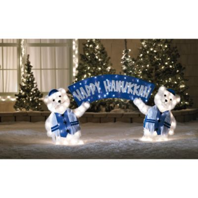 3-Piece Lighted Hanukkah Welcome Bears