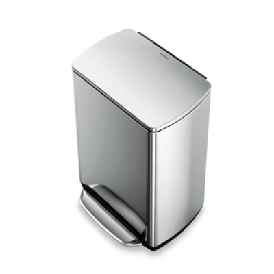 simplehuman® 50-Liter Rectangular Fingerprint-Proof Brushed Stainless Steel Step Trash Can