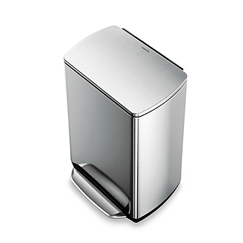 simplehuman® Brushed Stainless Steel Fingerprint-Proof Rectangular 50-Liter Wide-Step Trash Can