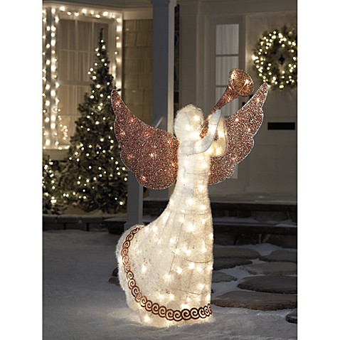 Buy 5 foot lighted animated angel from bed bath beyond for Angel outdoor decoration