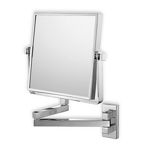 Mirror Image™ Square Double Arm 3X/1X Wall Mirror with Brushed Nickel Finish