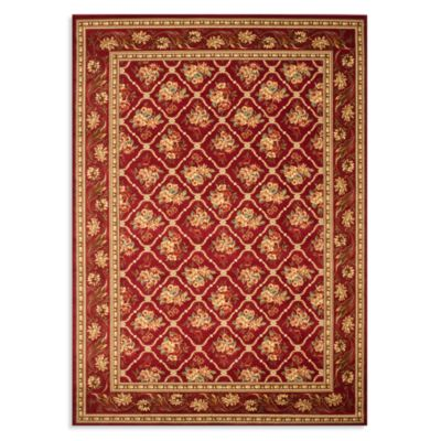 Safavieh Lyndhurst Floral Bouquet 5-Foot 3-Inch x 7-Foot 6-Inch Room Size Rug in Red