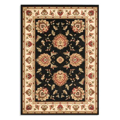 Safavieh Lyndhurst Flower Palmette 5-Foot 3 x 7-Foot 6-Inch Room Size Rug in Black