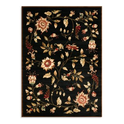 Safavieh Lyndhurst Flower and Vine Room Size 5-Foot 3-Inch x 7-Foot 6-Inch Room Size Rug in Black