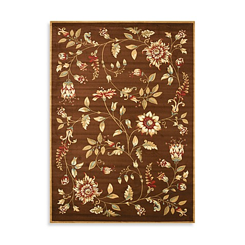 Safavieh Lyndhurst Flower and Vine 5-Foot 3-Inch x 7-Foot 6-Inch Room Size Rug in Green