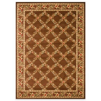 "Safavieh Lyndhurst Flower and Vine 5' 3"" x 7' 6"" Room Size Rug in Brown"