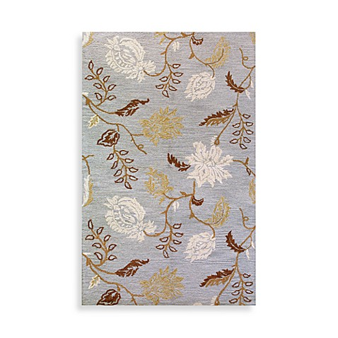 Light Blue Flora 5' x 8' Room Size Rug