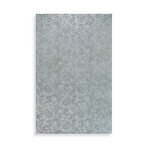 Sculpted Vines Rug in Light Blue