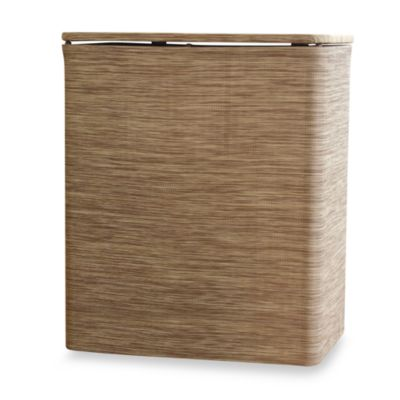 Woven PVC Upright Hamper - Sage/Brown