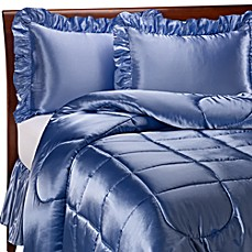 Charmeuse French Blue Satin Comforter Set