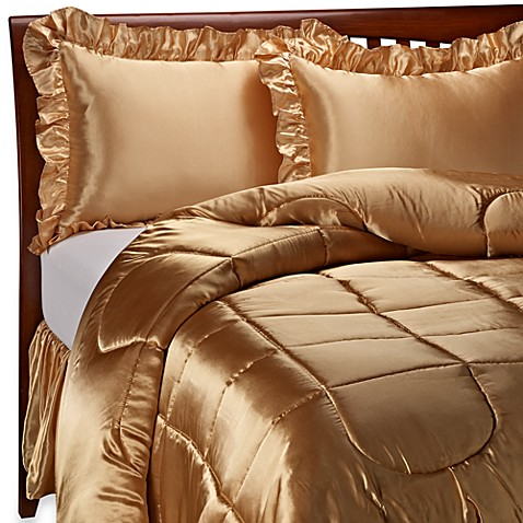 Charmeuse Gold Satin Comforter Set