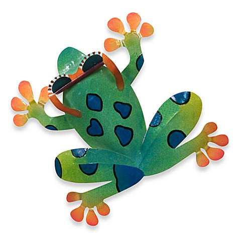 Metal Frog Plaque in Green